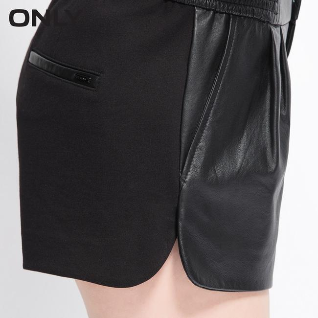 Only Mine Real Leather Mini/Short Shorts Black