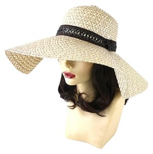 Other FASHIONISTA Chic Brown Ivory Beige Print Brown Accent Beach Sun Cruise Summer Large Floppy Dressy Hat Cap