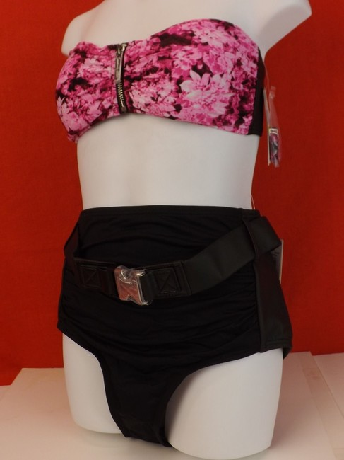 Michael Kors NWT MICHAEL KORS NEON PINK FLORAL SWIM TOP AND BOTTOM SWIM SUIT SIZE M $168 MODEL #MM37181