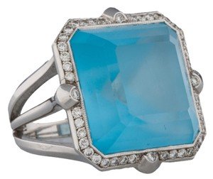 18K BLUE TOPAZ & DIAMOND FRAME RING