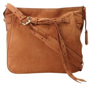 Joy Gryson Marley Nubuck Nubuck Suede Leather Tan Crossbody Hobo Bag