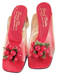 Beverly Feldman Vintage Clear With Red Cherries Mules