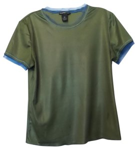 Vivienne Tam Silky Lace Tee Top Olive Green and Blue