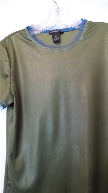 Vivienne Tam Lace Tee Jersy Excellent Condition Knit Top Olive Green and Blue