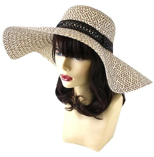 Other FASHIONISTA Chic Khaki Ivory/Beige Print Brown Accent Beach Sun Cruise Summer Large Floppy Dressy Hat Cap