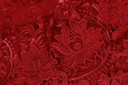 Handmade Sexy Red 3d Lace Wedding Dress Gorgeous Mermaid Red Court Train Bridal Gown With Crystal Belt Wedding Dress