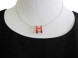 Hermès SALE!!! AUTH,HERMES SILVER CHOCKER SIGNATURE ORANGE