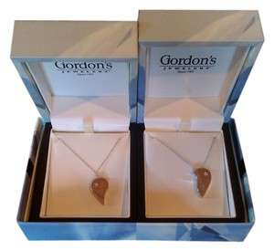 Gordon's Jewelers 2 - 14K Solid White Gold Soulmate/Best Friens Heart necklaces with diamonds 11g
