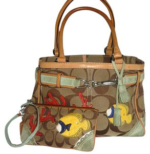 Coach Fish Signature C Jacquard Satchel in Multi color