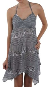 Volcom short dress black & white Summer Halter Tie-back Geometric Handkerchief Beach on Tradesy
