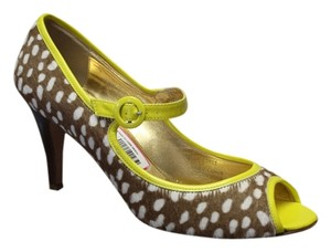 J.Crew Collection Polka Dot Leather Fur Yellow Brown Pumps