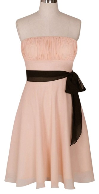 Preload https://item5.tradesy.com/images/peach-strapless-chiffon-pleated-bust-knee-length-cocktail-dress-size-10-m-3827464-0-0.jpg?width=400&height=650