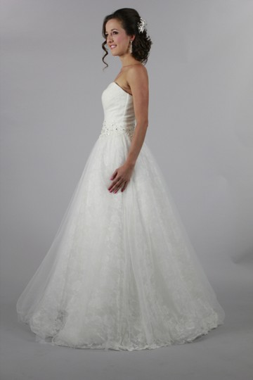 White Organza Tulle Lace Handmade Sweetheart Rose Ball Gown Backless Bridal Modern Wedding Dress Size 4 (S)