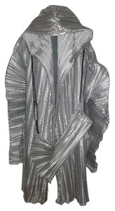 Vintage Metallic Silver Pleated Avante Garde Origami Hooded Jacket w/ Bag