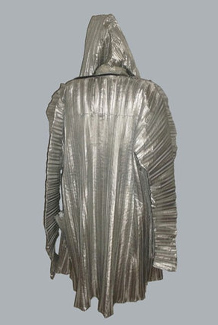 Other Vintage Metallic Silver Pleated Avante Garde Origami Hooded Jacket w/ Bag
