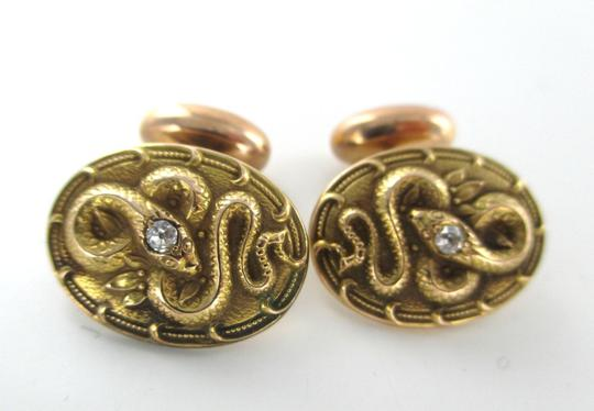 Other 14K SOLID YELLOW GOLD CUFF LINKS SNAKE2 DIAMONDS .10 CARAT 5.5 GRAMS MEN JEWELRY