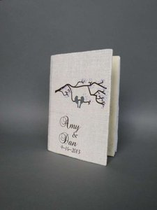 Grey and White Customized Wedding Guest Book Birds On The Tree Branch Cherry Blossoms