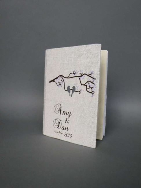 Item - Grey and White Customized Wedding Guest Book Birds On The Tree Branch Cherry Blossoms