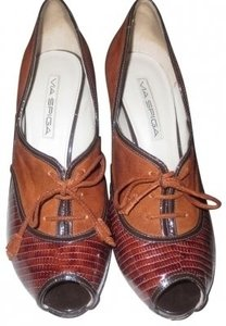 Via Spiga Oxford Laced Suede Snake Peep Brown Pumps