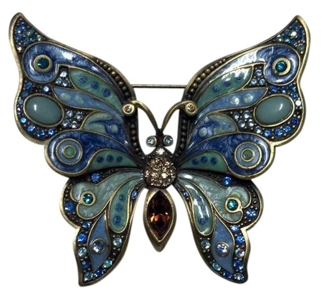 Item - Multi Blue Hues Large Enameled and Swarovski Butterfly Pin By