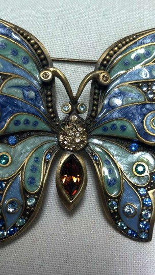 Jay Strongwater Large Enameled and Swarovski Butterfly Pin by Jay Strongwater