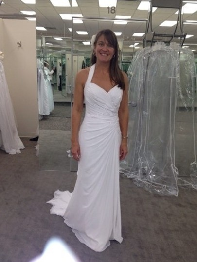 DB Studio Ivory Chiffon Gown with High Slit and Halter Tie Back Style Wg3482 Wedding Dress Size 6 (S)