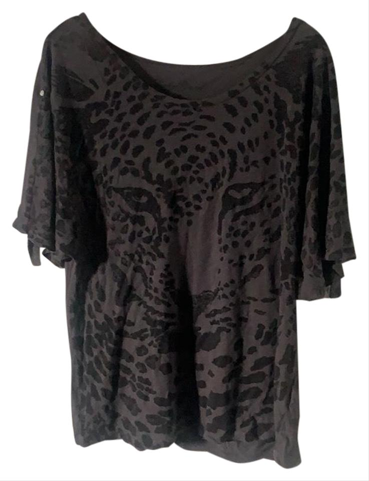 e0847babc5b0 Lucky Brand Free People Leopard Print Print Leopard Sleeves T-shirt Animal  T Shirt Grey ...