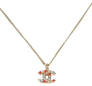 Chanel Chanel Crystal Multi-color colorful CC Logo Necklace Pendant Gold Tone Hardware Reversible Double Sided 04A Classic Timeless Box