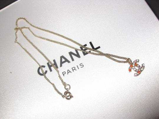 Chanel Crystal Multi-color colorful CC Logo Pendant Gold Reversible 04A