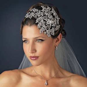 Silver/Clear Vintage Couture Leaves Side Accented Crystal Faceframer Headband Hair Accessory