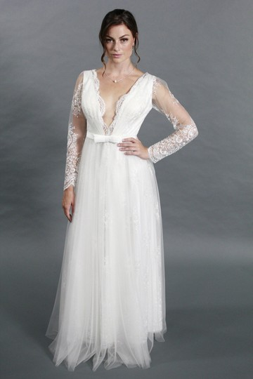 White Lace Tulle Satin Handmade Sexy Deep V Neckline Long Sleeves A Line Modern Wedding Dress Size 4 (S)