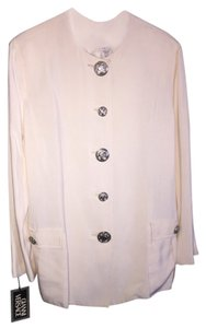 Versace 2 Piece Silk Cream Colored Skirt Suit