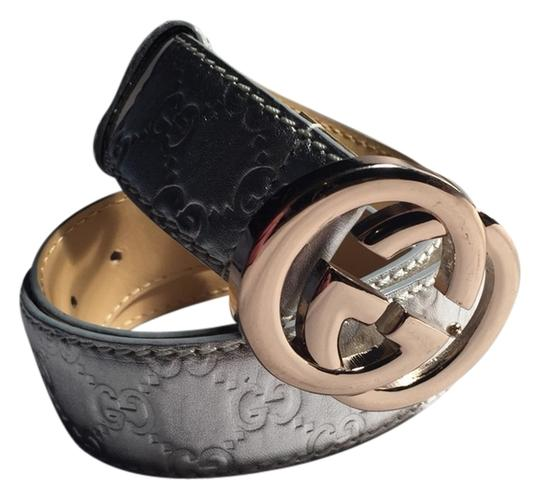 Gucci NWOT authentic GUCCI metallic silver Guccissima leather BELT gold GG buckle SIze MED
