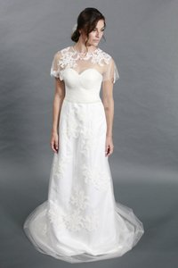 Handmade Elegant White A Line Sweetheart Lace Applique Featured With Crystal Belt And Detachable Lace Bolero Wedding Dress
