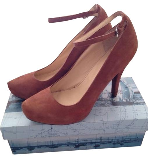 Marc Fisher Suede Ankle Strap Brown Pumps