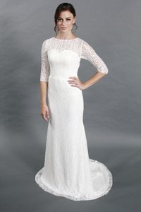 Handmade Simple Scoop Neckline Sheath Silhouettes Half Sleeves Lace Wedding Dress Wedding Dress