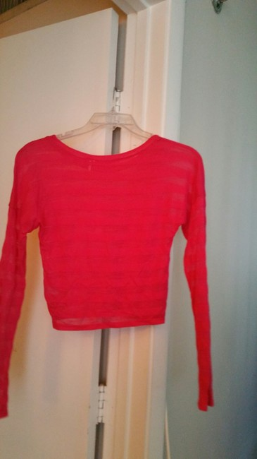 One Clothing Sheer Stripes Midriff/Halftop Long Sleeved T Shirt FUSCHIA/Bright Pink