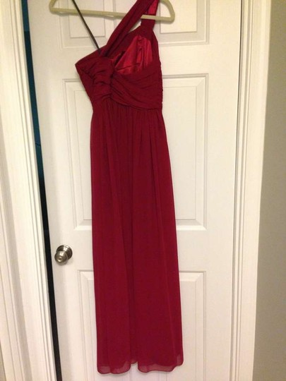 Monique Lhuillier Red Silk Chiffon 450024 Formal Bridesmaid/Mob Dress Size 2 (XS)