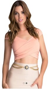 bebe Gold chain belt with Lion centerpiece and jewels