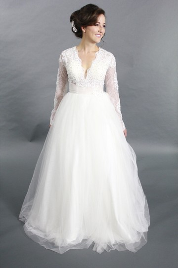 White/Ivory Lace Satin Tulle Handmade Long Sleeves Applique Ballgown V Neck Modern Wedding Dress Size 4 (S)