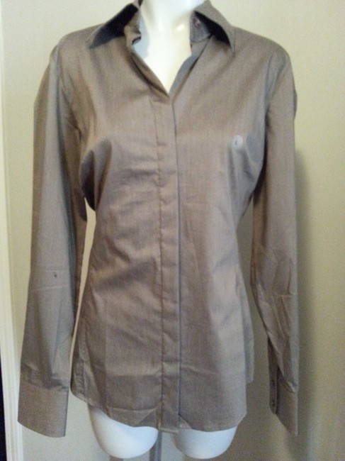 New York & Company Button Down Shirt Taupe/Brown