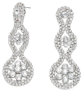 Other Elegant Rhinestone Crystal Floral Cluster Bejeweled Drop Dangle Chandelier Evening OR Bridal Formal Earrings