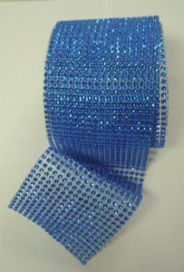 "Blue New 4.75"" X 10 Yards Diamond Mesh Wrap Roll Sparkle Bling Rhinestone Ribbon Crystal Ribbon Table Party Other"