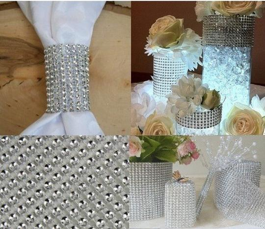 """Blue New 4.75"""" X 10 Yards Diamond Mesh Wrap Roll Sparkle Bling Rhinestone Ribbon Crystal Ribbon Table Party Other"""