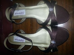 Dyeables Chocolate Brown Dress with Crystal Accent Sandals Size US 7.5 Wide (C, D)