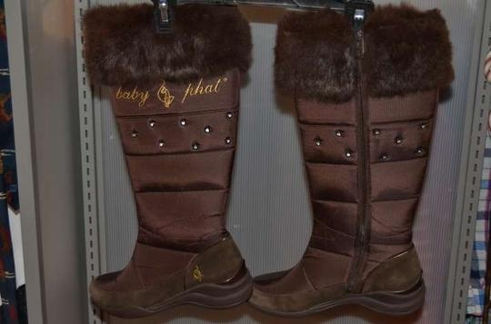 Baby Phat Nwot Cute Warm Knee High Leather Upper (Shoe Of Rubber Sole With Great Grip Very Stylish With Embellishments Brown Boots