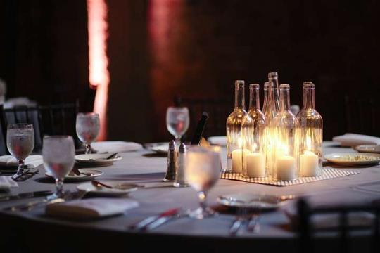 Wine Bottle Candles Centerpiece