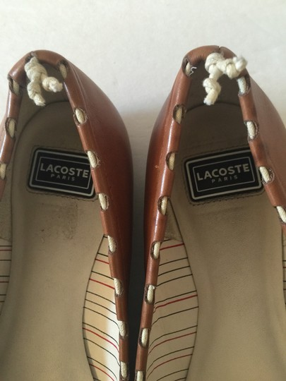 Lacoste Paris Leather Alligator Brown Flats