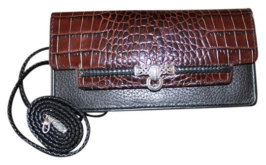 Preload https://item4.tradesy.com/images/brighton-black-with-brown-trim-leather-cross-body-bag-3830383-0-1.jpg?width=440&height=440