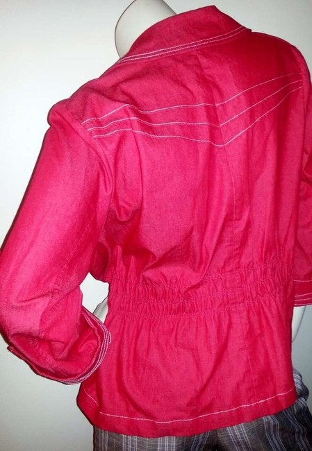 Joan Rivers Red Womens Jean Jacket